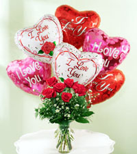 Soaring Dozen - Six Vased Red Roses & Six Love Balloons